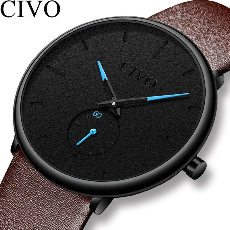 CIVO 2019 New Mens Watches Top Brand Waterproof Sport Quartz Watch Men Genuine Leather Strap Male Wristwatch For Man Clock