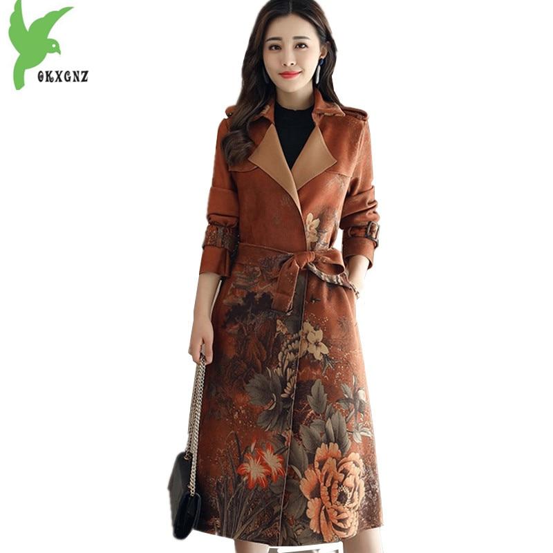 New Women Windbreaker Deerskin Suede Print Coats Autumn Fashion Long section Trench Coat Plus size Slim Female Coats OKXGNZ 1495