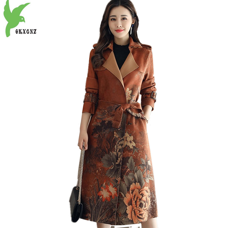 New Women Windbreaker Deerskin Suede Print Coats Autumn Fashion Long section   Trench   Coat Plus size Slim Female Coats OKXGNZ 1495