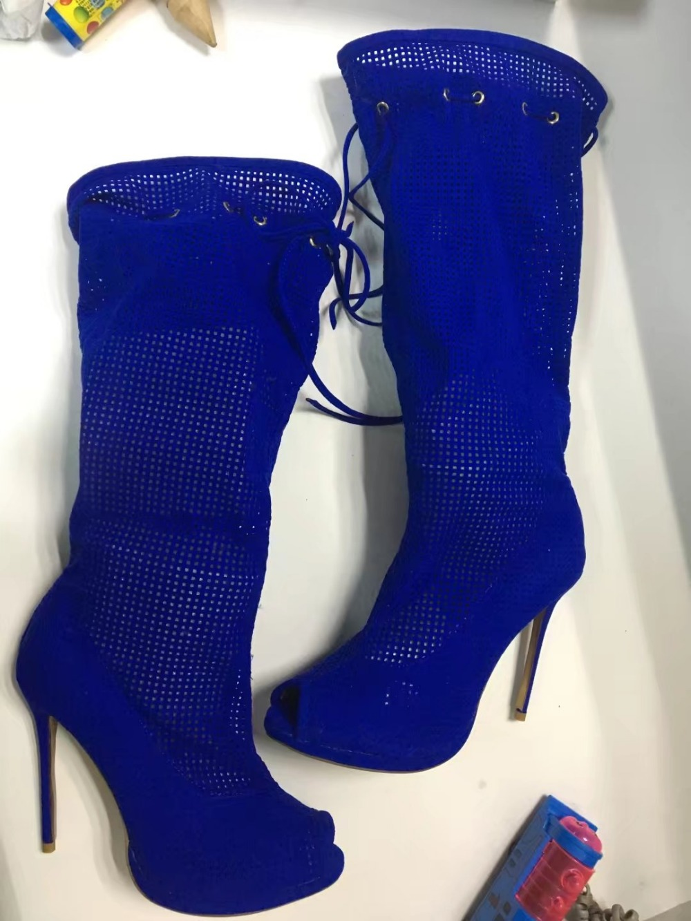 2017 summer women boots blue cut-outs high heels over the knee boots lace-up long boots sexy peep toe platform boots women