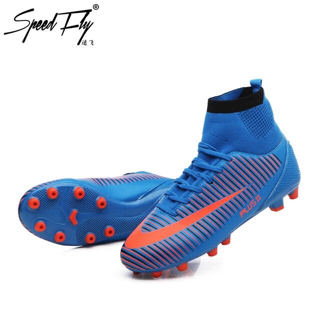 d6d8c99820 Speedfly Homens Futebol Botas Superfly TF Chuteiras FG Chuteiras Sapatos de Alta  Tornozelo Meia hard-