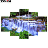 Zhui Star 5d Diy Diamond Embroidery Forest Waterfall 5PCS Diamond Painting Cross Stitch Full Drill Rhinestone