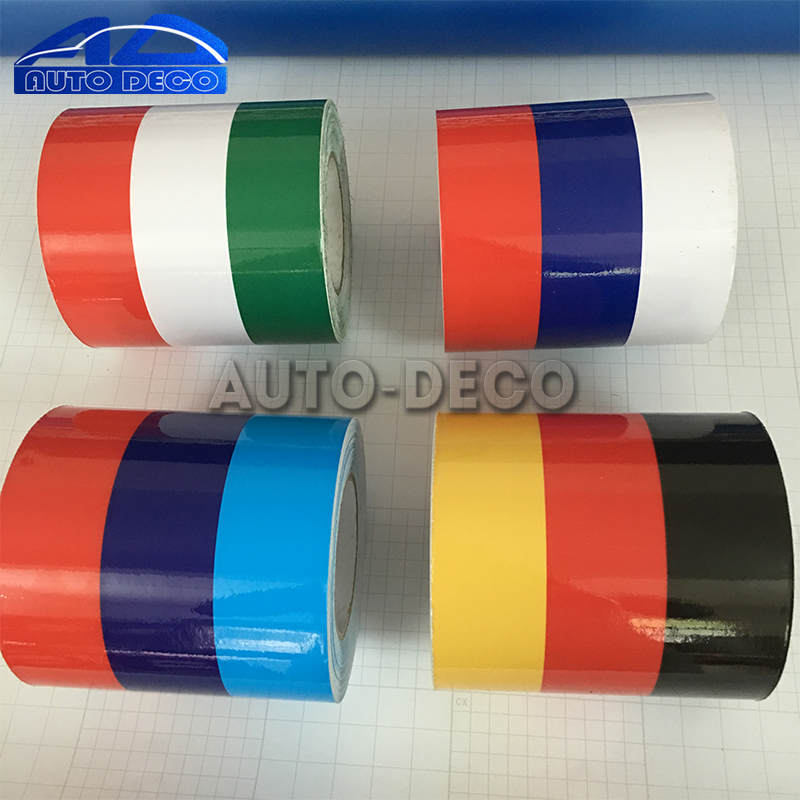 Three Color Flag Stripe Sticker Car Roof Hood Sport Decal Germany France Italy Decorative partol black car roof rack cross bars roof luggage carrier cargo boxes bike rack 45kg 100lbs for honda pilot 2013 2014 2015