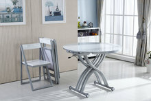 Small apartment multifunction folding retractable glass circular lift several variants of dual-use coffee table dining teasidee