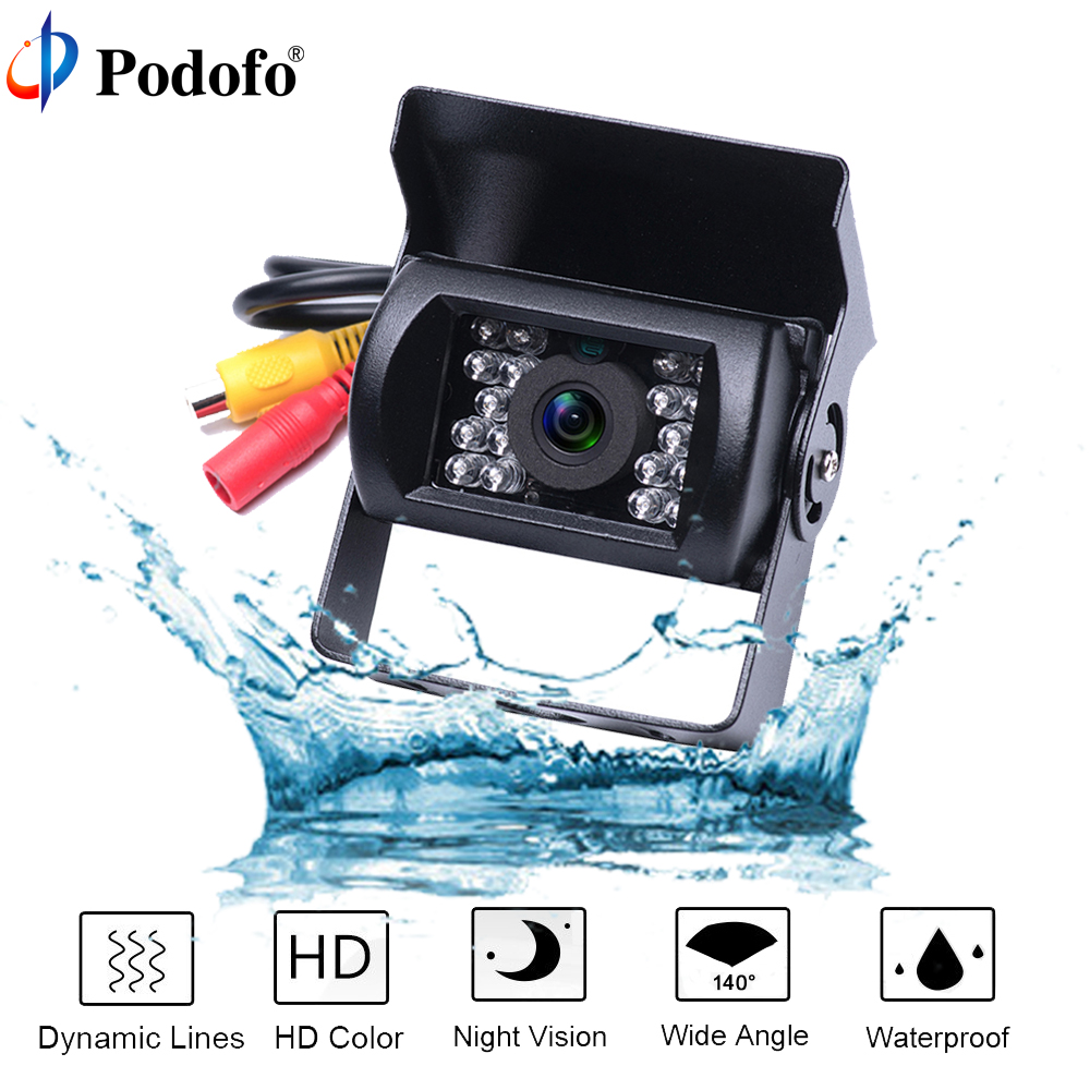 Podofo Bus and Truck Backup Camera Waterproof 18 IR LED Car Rear Vehicle Camera 12V Reversing Parking Rearview Cam Night Vision waterproof vehicle car rearview camera ntsc