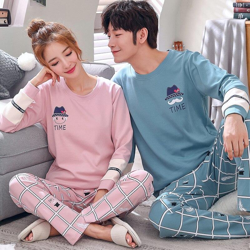 Pijama Couple Autumn Cotton Pajamas Set Long Sleeve Nightwear Cartoon Men Women Casual Home Clothes Sleepwear Lovers' Clothes