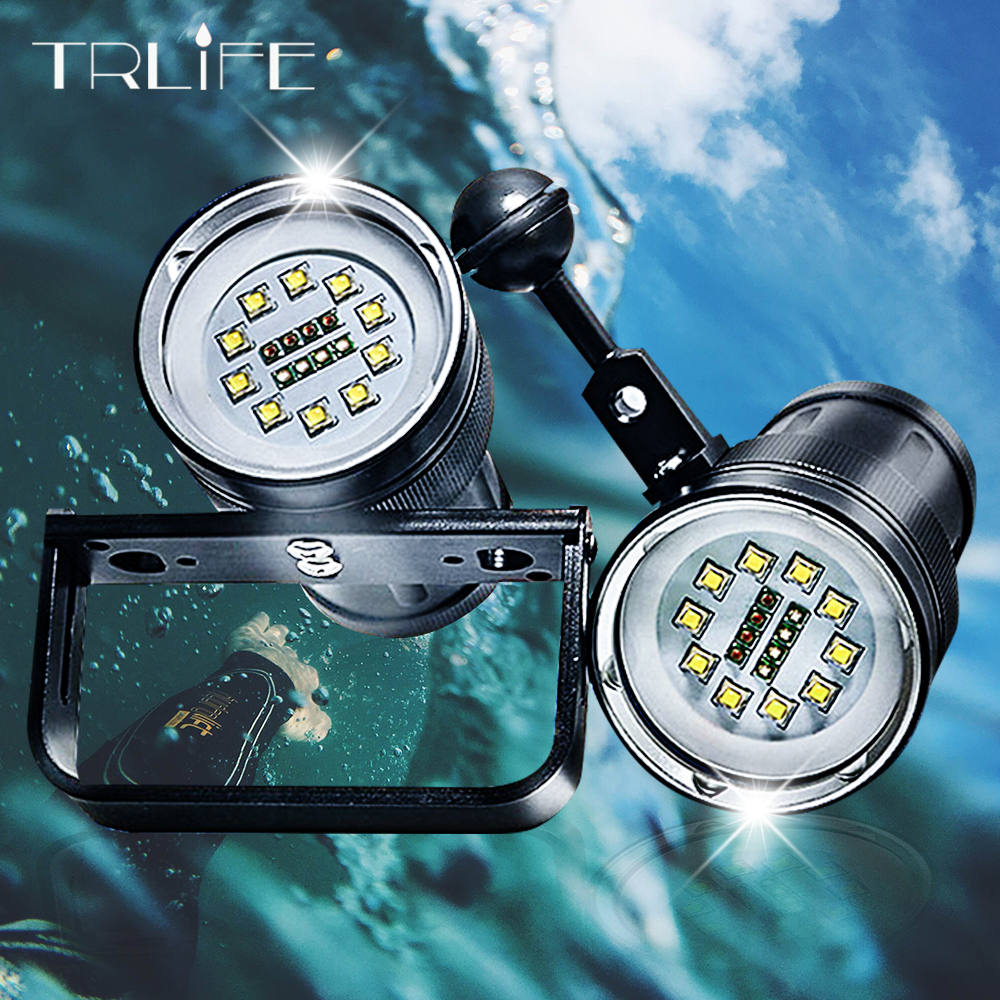 2 in 1 30000 Lumens 10* L2 Diving Flashlight 500 meters Underwater Diving Torch Waterproof Flashlight for Photography