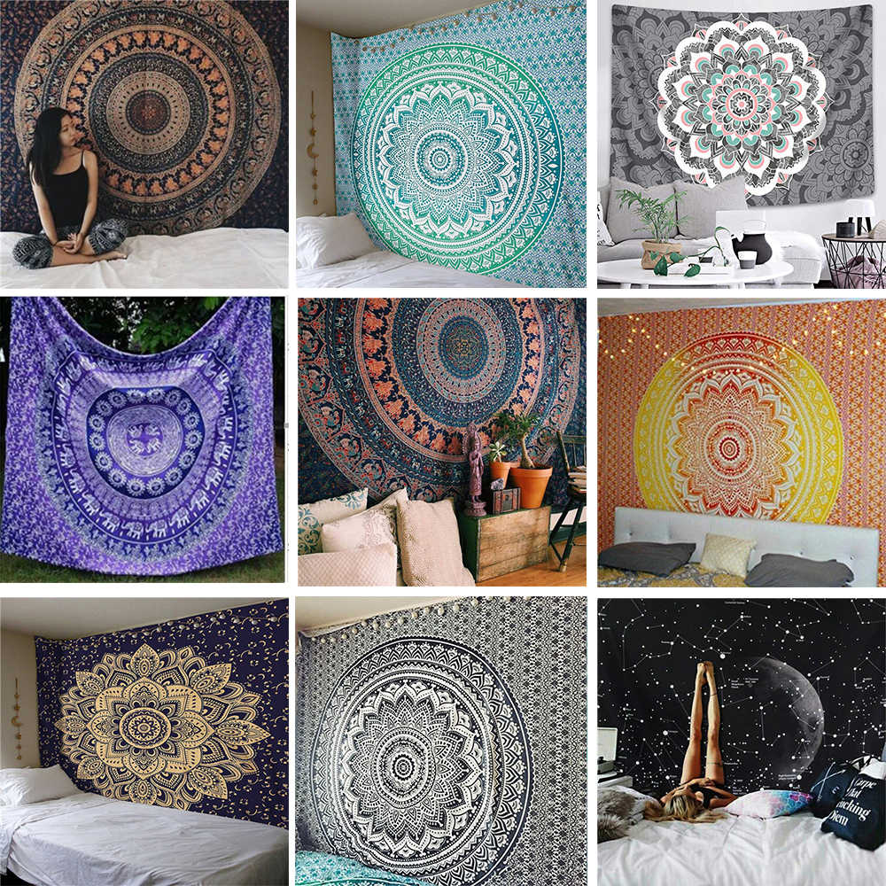 อินเดีย Mandala Tapestry Wall แขวน Boho Decor ผนังผ้า Tapestries Psychedelic Hippie Night Moon Tapestry Mandala พรมพรม