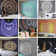 India Mandala Tapestry Wall Hanging Macrame Wall Cloth Tapestries Psychedelic Hippie Night Sky Moon Tapestry Mandala Wall Carpet(China)