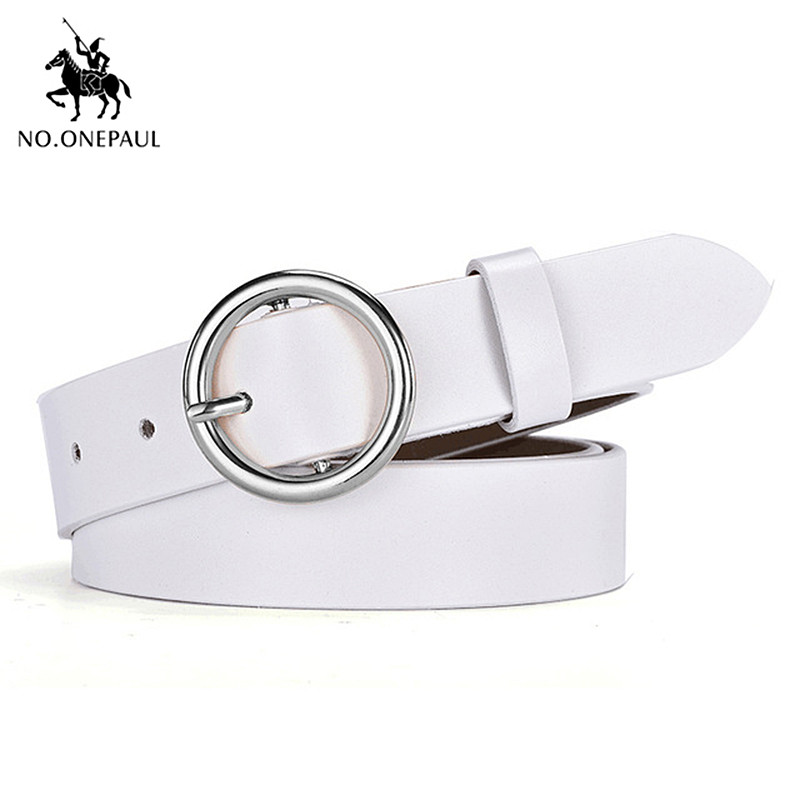 NO. ONEPAUL Дамский кожаный ремень аксессуары хипстерские повседневные пряжки украшение Модный популярный винтажный сплав с круглой пряжкой - Цвет: YQ01 white silver