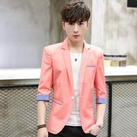 Men blazer Slim fit casual pink jacket new 2019 Casual black suit Jacket Ceket jaqueta masculine unique blue Blazer yellow