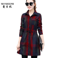 New 2017 Spring And Summer Black Red Blue Simple Plaid Long Shirt Shirt Professional Office Female