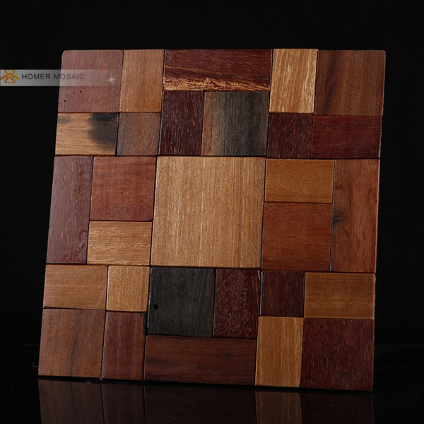 Natural Wood Wall Mosaic Tiles Wooden Panels For Cabinet Top Bar