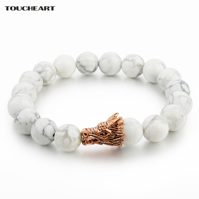 Toucheart Gold Color Dragon Head Bracelet Femme For Women Man Natural Stone Charm Bracelets Bangle Sbr160139