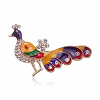 rinhoo Nice Enamel Peacock Brooches for Women High Quality Multicolor Animal Brooch Pins Wedding Banquet Party Gift Accessories