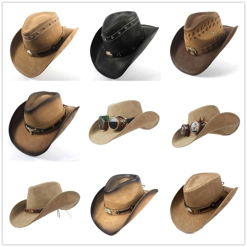 100% Leather 9 Stlye Western Cowboy Hat For Women Men Fedora Hat Gentleman Dad Cowgirl Sombrero Hombre Jazz Caps Size 58-59CM 1