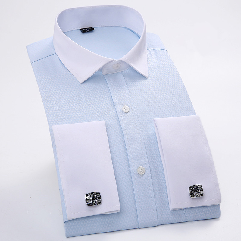 Men 39 s dress shirts french cuff blue white long sleeved for Mens dress shirts french cuffs