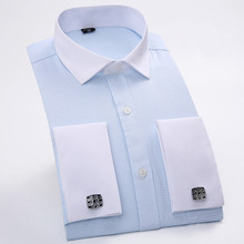 Business Casual Shirt Slim Fit Solid Color French Cufflinks Shirt