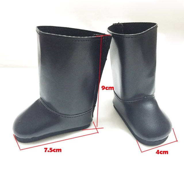 """free shpping pu Shoes  for 18"""" American Girl Doll plush black boots HJKD66"""