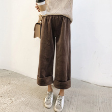 bcd40d1f3c559 High Waist Wide Leg Women s Pants Winter Velvet Vintage Trousers For Woman  2018 Autumn Black Gray