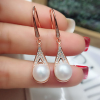 S925 pure silver earrings natural freshwater pearl earrings female light silver fashion new water rose gold earrings