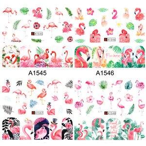 Image 5 - 12Pcs Flamingoสติกเกอร์เล็บดอกไม้รูปลอกน้ำโอนเล็บSlidersฤดูร้อนTattoo Nail Artตกแต่งเคล็ดลับJIA1537 1548 1