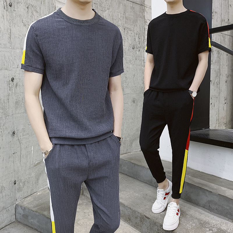 2019 Brand Men's Tracksuit Summer Men Set Short Sleeve T Shirts Hip Hop Tops Suit Sportswear Set Men's Clothing Sets Male
