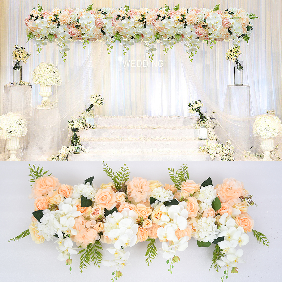 Artificial flowers wall wedding background lawn/pillar 1 m Arched flower road lead home market decoration 8 colors