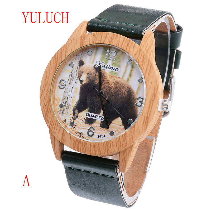 YULUCH New Fashion Simple Ladies Quartz Wooden Watch Good Quality Brand Big Bear Pattern Dial Pu Belt Pin Buckle Watch Gift все цены