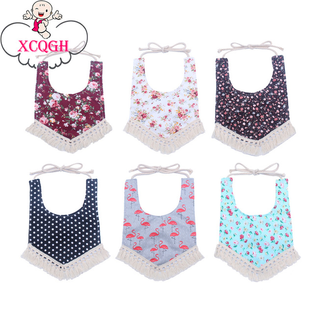 XCQGH Baby Bibs Cotton Boy Girl Bib Baby Saliva Towel Apron Flower Strip Infant Bandana Bibs Tassel Burp Cloth Feeding Accessory