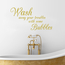 Bathroom wall stickers Wash Away Your Troubles waterproof removable vinyl wall art decals decorative Bathroom decor