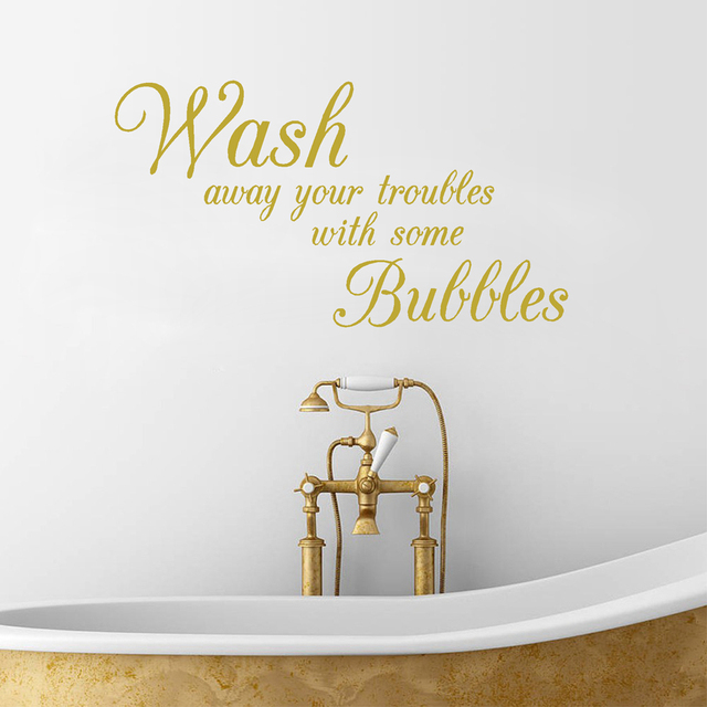 Bathroom Wall Stickers Wash Away Your Troubles Waterproof Removable Vinyl Wall  Art Decals Decorative Bathroom Decor Part 40