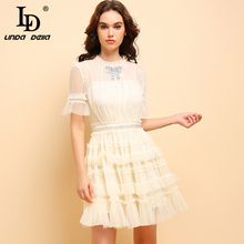 LD LINDA DELLA Summer Fashion Apricot Dress Women's Casual Short Sleeve Mesh Overlay Beading Ruffle Elegant Party Cupcatke Dress girls ruffle knot back mesh overlay dress