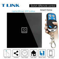 TLINK EU Standard Touch Wall Light Touch Screen Switch Black Crystal Glass Switch Panel 1 Gang
