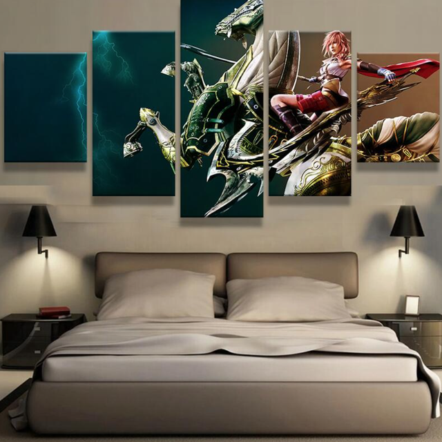 5 Panel Canvas Printed Final Fantasy Painting For Living Room Wall