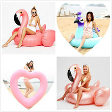 Giant Flower Print Swan Inflatable Float For Adult Pool Party Toys Green Flamingo Ride-On Air Mattress Swimming Ring boia(China)