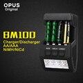 Bm100 opus originais 4 slots display lcd carregador de bateria inteligente para aa aaa ni-mh ni-cd bateria recarregável livre grátis