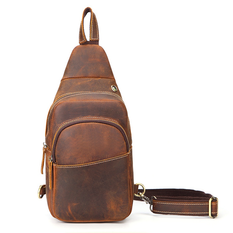Men Genuine Leather Chest Bag Mini Travel Sling Pack Male Small Crossbody Pouch