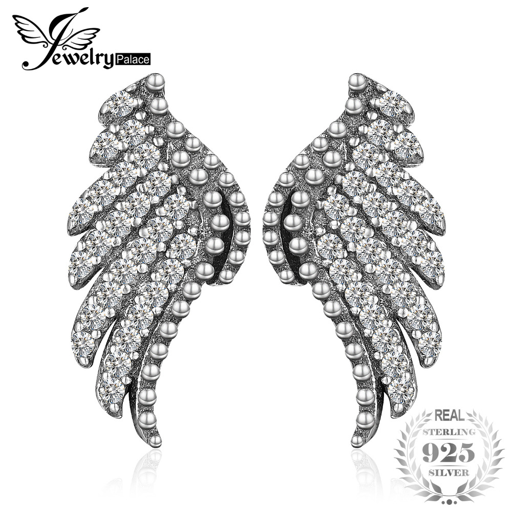 JewelryPalace 925 Sterling Silver Studs Earrings Glitter Angel Wings Wedding Bridal Vintage Fine Jewelry Gifts For Women New