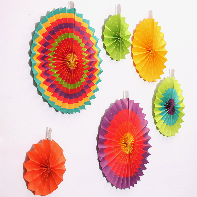 20cm 30cm 40cm Multi Colors Stripe Hanging Tissue Paper Wheel Fans House Wedding Birthday Party