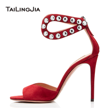 Sexy Metal Studs Red High Heels Sandals Women Peep Toe Evening Shoes Stiletto Heels Ladies Summer Studded Shoes Large Size 2018 deleventh classics sexy women red wedding shoes peep toe stiletto high heels shoes woman sandals black red nude big size 43 us10