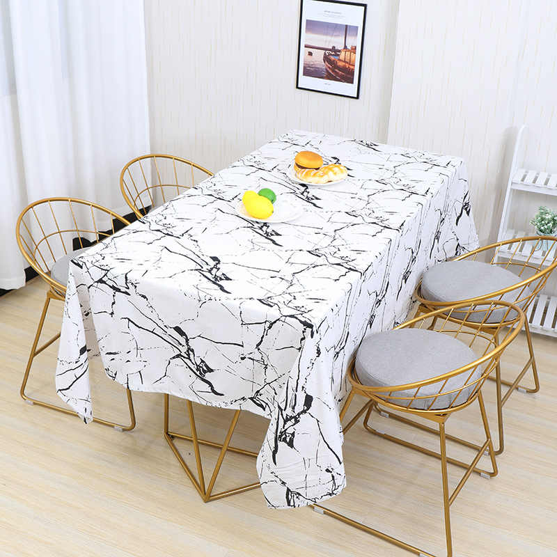 Marble Printed Tablecloth Cotton Linen Table Cover Dinning Hotel Home Decor