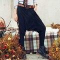 AIGYPTOS-Aporia.As] Осень Женщины Национальная Тенденция Геометрическая Вышивка Бинты Дизайн Случайные Свободные Черные Замшевые Гарем Брюки Брюки