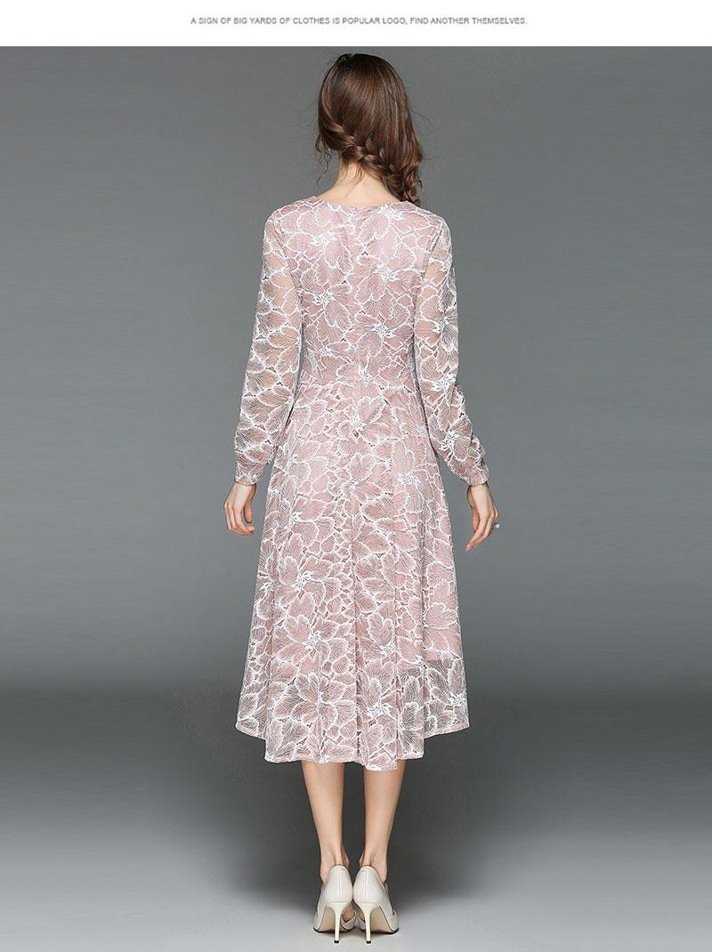 Borisovich Women Casual Lace Dress New 18 Autumn Fashion Long Sleeve V-neck Elegant Slim A-line Women's Party Dresses M398 8