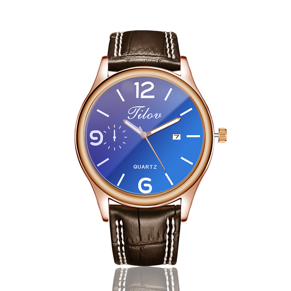 2018 Men's Watch Personality Waterproof Calendar Wristwatches Leather Men Quartz Watches Round Buckle Alloy Simple Black Casual 2