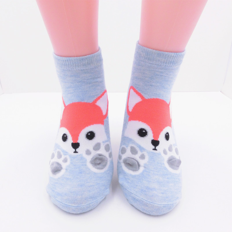 Pink Cue Cartoon Animal Novelty Happy Socks For Women Blue White Dog Paw Funny Socks Ladies Girls Female SD057