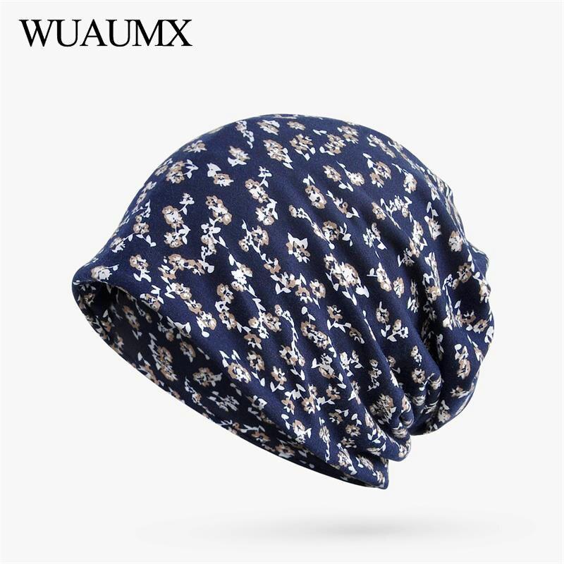 Wuaumx Casual Unisex Black   Beanies   Hats Women and Men Floral Cotton Print Turban Hat Ring Scarf   Skullies     Beanies   Mask Collar Cap