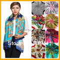 Free shipping ! 2017 NEW hot sale satin square big silk scarf,90*90cm, beautiful  flowers shawl  for women 121-140 SC0271