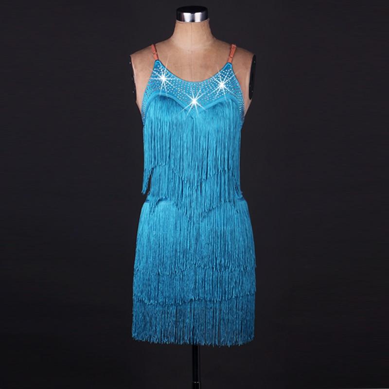 2017 Hot Sex Stage Women Lady Latin Dance Dresses Blue -9268