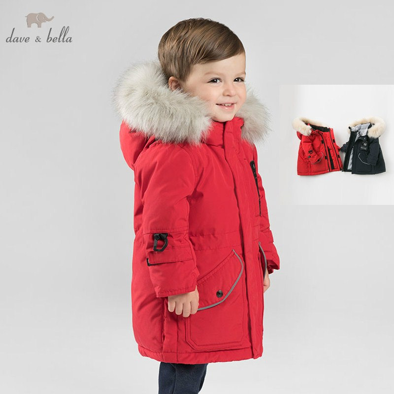DB8837 dave bella BABY BOYS down jacket children hooded outerwear infant toddler print boutique padding coat with big fur db8695 dave bella baby boy down jacket children hooded outerwear infant toddler boutique 90